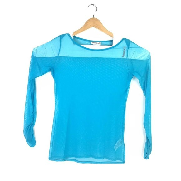 Reebok Small Blue Thumbhole Active Shirt Sheer